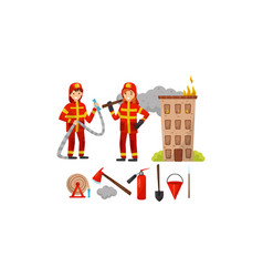Firefighters tools and a burning house vector
