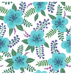Floral pattern with bright blue flowers plants vector