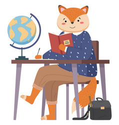 Funny cartoon animal student lovely cute fox came vector