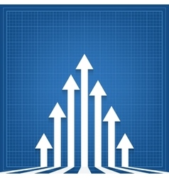 Graph arrows blueprint background vector