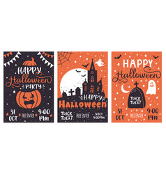 halloween party posters scary pumpkin haunted vector image