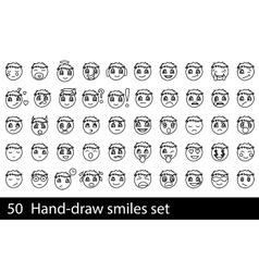 Hand-drawn smile set vector