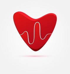 Heart beat in red - medical icon vector
