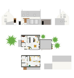 House projection with furniture set scale -ten vector