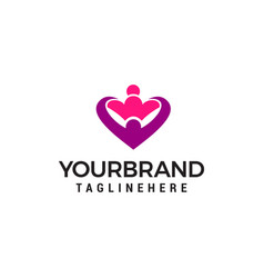 hug love heart logo design concept template vector image
