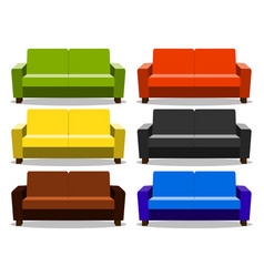 Interior with realistic set sofa lounge settee vector
