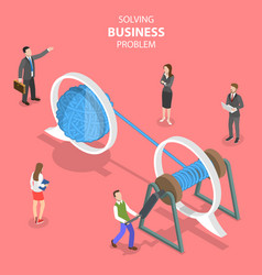 isometric flat concept soloving business vector image