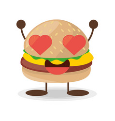kawaii burger food lovely vector image