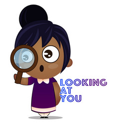 Little girl with magnifying glass on white vector