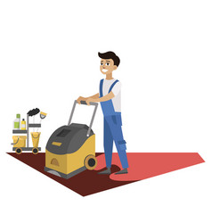 man with washing machine cleans carpet poster vector image