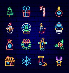 Merry christmas neon icons vector