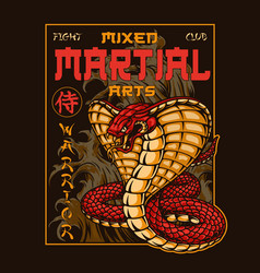 Mixed martial arts club vintage print vector