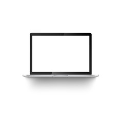 mockup front view open laptop with white blank vector image