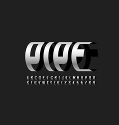 Modern font pipe three-dimensional alphabet vector