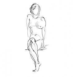 naked sitting model drawing vector image