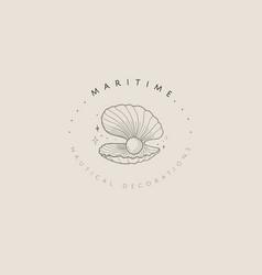 nautical premade brand logo design seashell pearl vector image