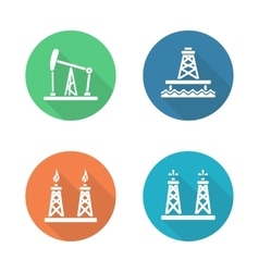 Oil industry flat design icons set vector image