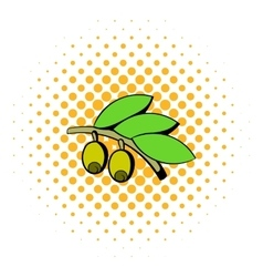 Olives on branch with leaves icon comics style vector