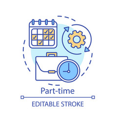 Part-time concept icon temporary short-term vector