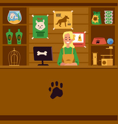 Pet shop with seller and counter with pet care vector