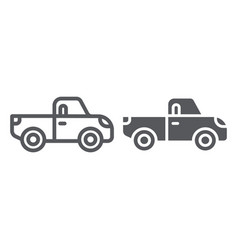 pickup line and glyph icon transport and vector image