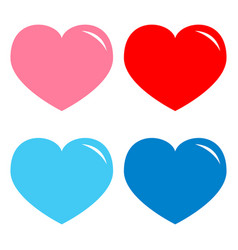 pink red blue heart shining icon set happy vector image