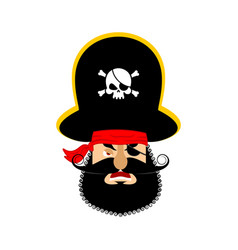 Pirate angry emoji head filibuster evil emotion vector