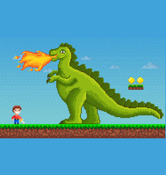 Pixel-game dinosaur monster breathes fire on human vector