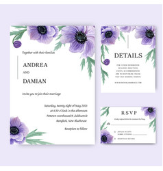 Poppy flowers watercolor bouquets invitation card vector