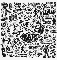 Rap music hip hop culture icon set vector