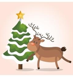 reindeer christmas isolated vector image