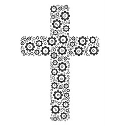 Religious cross collage of gear vector