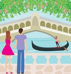 Romantic couple in Venice vector