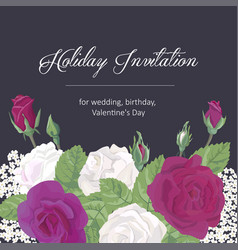 Romantic greeting card on dark background vector