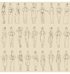 Seamless pattern various evening dresses vector