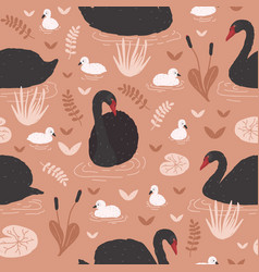 seamless pattern with black swans and brood of vector image