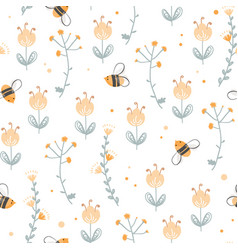seamless pattern with cute bee and doodle vector image