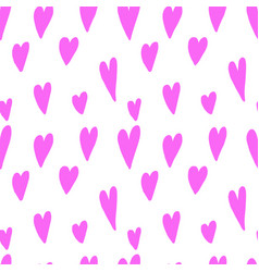 seamless pattern with hand drawn hearts design vector image