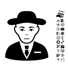 Secret Service Agent Icon With Copter Tools Bonus vector