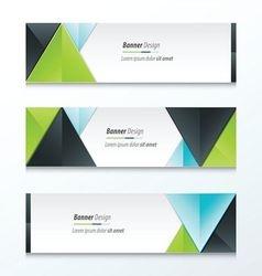 Set Bright modern abstract banner design green vector image