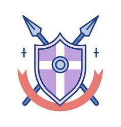 Shield pikes line color icon vector