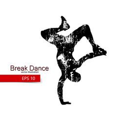 silhouette a break dancer vector image