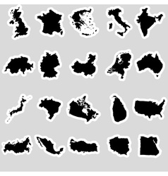 Simple maps of different country stickers vector