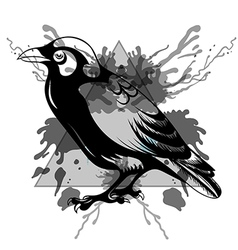 Sketch Black Raven in triangle frame with vector image