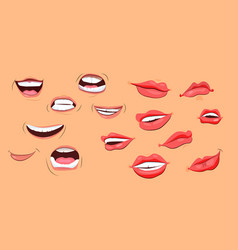 smiles and lips icons set vector image