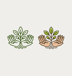 Sprout in hand agriculture farming logo or vector