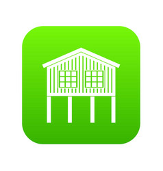 Stilt house icon green vector