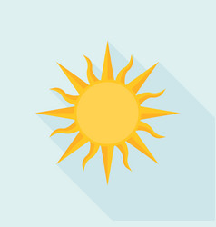 Sun icon with long shadow flat design vector