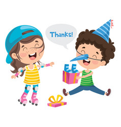 thank you with cartoon characters vector image