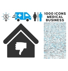 Thumb Down Building Icon with 1000 Medical vector